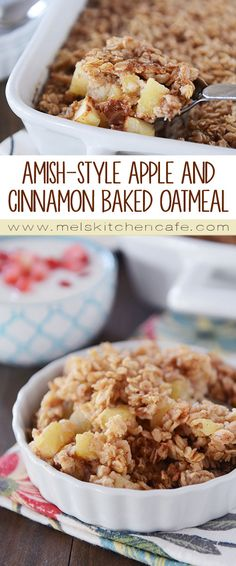 Amish-Style Apple and Cinnamon Baked Oatmeal A delicious variation on baked oatmeal, this Amish-style apple and cinnamon baked oatmeal is so easy and delicious (and can be made the night before! - Amish-Style Apple and Cinnamon Baked Oatmeal Baked Oatmeal Recipes, Apple Recipes, Amish Baked Oatmeal, Oatmeal Breakfast Recipes, Breakfast Crockpot, Baked Oatmeal With Apples, Healthy Baked Oatmeal, Apple Cinnamon Oatmeal, Almond Recipes