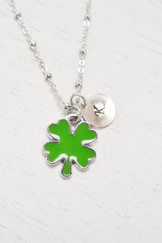 four leaf clover necklace,green clover good luck jewelry,mom necklace,lucky clover,st patricks,shamrock,leaf necklace,personalized jewelr