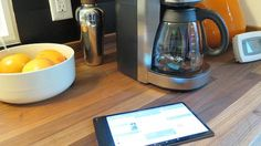 Intel Smart Home coffee maker and tablet.