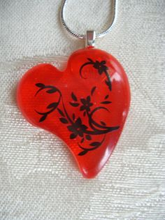 Floral Fused Glass Heart Pendant