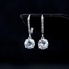 $47 18K White Gold Plated Zircon Crystal Earrings