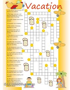 Vacation vocabulary is needed for this crossword.                                                                                                                                                                                 More