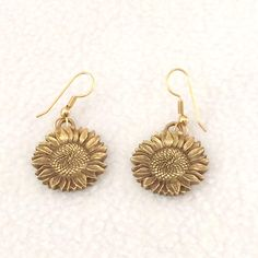 Vintage Sunflower Gold Tone 1992 Signed Dangle Earrings