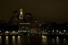 Your cruise will begin and end at Boston's Long Wharf. The city sure is lovely at night. (Boston's Best Cruises)