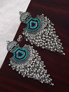 The Bohemian Jhaalar Statement Makers (Blue Hues) - The Embroidered Oxidised Collection Indian Jewelry Earrings, Indian Jewelry Sets, Jewelry Design Earrings, Silver Jewellery Indian, Indian Jewellery Design, Ear Jewelry, Cute Jewelry, Silver Earrings, Silver Jewelry