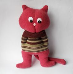 Plush cat doll made from recycled wool sweaters.    Blush is a adorable large cat sewn from recycled wool sweaters.