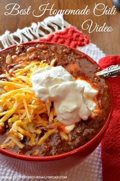 Best Homemade Chili with Video - perfect family meal for fall and winter.