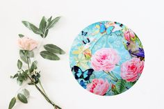 Flower Mouse Pad Floral Mouse Mat Butterfly Round by BlissNhome