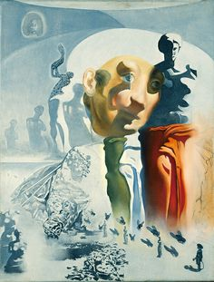 The Face (Sketch for The Hallucinogenic Toreador). by artist Salvador Dali. hand-painted museum quality oil painting reproduction on canvas. Surrealism Painting, Gouache Painting, Oil Paintings, Salvador Dali Paintings, Picasso Cubism, Les Religions, Rene Magritte, Face Sketch, Spanish Artists