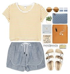 """""""live"""" by beccaneglia ❤ liked on Polyvore featuring Madewell, rag & bone, Dogeared, Palila, Monki, Korres and Birkenstock"""