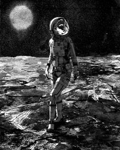 Woman in form-fitting spacesuit.