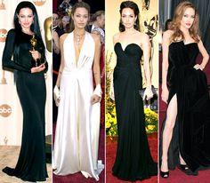 Angelina Jolie's red carpet #Oscars style -- 2000: Versace; 2004: Marc Bouwer; 2009: Elie Saab; 2012: Atelier Versace
