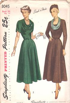 Simplicity 4045 1940s Misses U Neck Cowl Neck Dress Tulip Sleeves womens vintage sewing pattern by mbchills