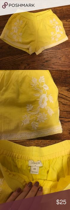J. Crew Embroidered Shorts These are so fun and such a flattering fit! They're long enough to cover your bum but they aren't crazy long. They're bright yellow with white embroidery that is symmetrical. These also have pockets! Please feel free to use the offer button or ask any questions! J. Crew Shorts