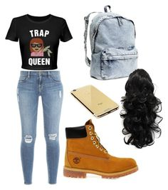 """""""Untitled #9"""" by jasminegracee ❤ liked on Polyvore featuring Frame Denim, Timberland, H&M and Goldgenie"""