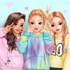 My sistah^s. mah babes My cupcakes. Kawaii Girl Drawings, Cute Girl Drawing, Girly Drawings, Cute Drawings Of Girls, Pencil Drawings, Friends Sketch, Drawings Of Friends, Cute Best Friend Drawings, Bff Pics