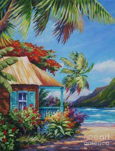 Garden Isle Painting by John Clark Landscape Paintings, Watercolor Paintings, Landscape Wallpaper, Gouache Painting, Hawaii Painting, John Clark, Hawaiian Art, Caribbean Art, Tropical Art