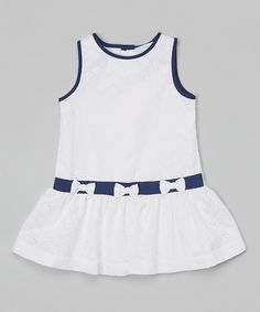 Look at this White & Navy Eyelet Bow Dress - Infant & Toddler on #zulily today!