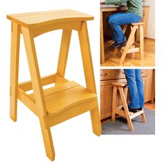 Kitchen step stool , with 1 more step placed in the middle of step and seat.
