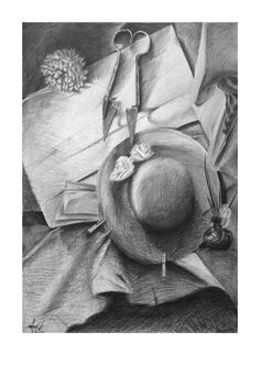 The hat and scissors #hat #pencil #pencildrawing #scissors #scissorblade #academic #art