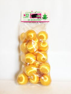 18 New Vintage Yellow Satin Christmas Ornaments  by HarpersFlea, $14.00