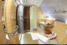 Emirates A380 first class bathroom, including a shower. Wow