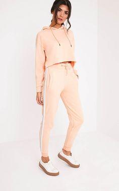 Gwen Nude Side Stripe Joggers - Trousers - PrettylittleThing UK | PrettyLittleThing.com