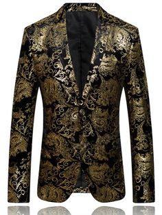 Notched Collar Floral Printed Men s Blazer -m.tbdress.com Svadobné Šaty 72b98f8552