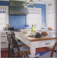 Gorgeous blue glass subway tile!
