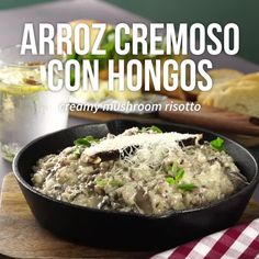 Arroz Cremoso con Hongos - Count Tutorial and Ideas Veggie Recipes, Lunch Recipes, Pasta Recipes, Vegetarian Recipes, Healthy Recipes, Kitchen Recipes, Cooking Recipes, Mexican Snacks, Deli Food