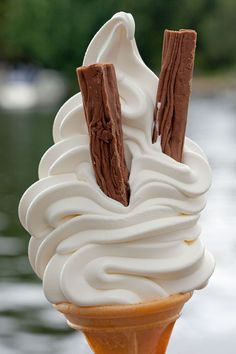 This is how they do ice cream cones in England - with yummy Cadbury Flakes!