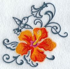 Embroidered Kitchen Towel Hummingbird Hibiscus