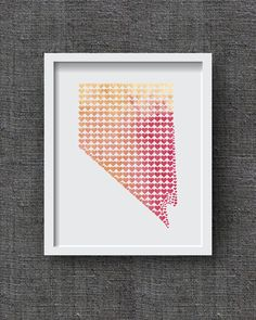 Nevada Watercolor Art Print, Watercolor State Heart - Watercolor State Art, Nevada Hearts - Wedding Gift