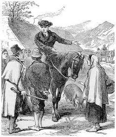 John Wesley as a circuit riding preacher through the English countryside.