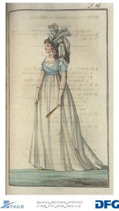 Young lady with atlas of attachment and eingeschlungenen Sammtbandeau, in a white chemise with black Halbcorset Regency Dress, Regency Era, St Just, Vintage Outfits, Vintage Fashion, 18th Century Costume, 18th Century Fashion, Empire Style, Types Of Dresses