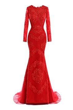 Chengzhong Sun Women Mermaid Long Sleeves Lace Evening Prom Dresses