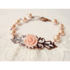 Bridesmaid Bracelet - Wedding Jewelry, Blush Pink, Vintage Style Bracelet, Pink Rose and Pearls - Bridal Party Gift