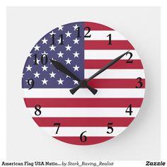703f2ad93e68 American Flag USA National Emblem Round Clock