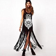 Hamsa Tassel Long Dress - Rebel Style Shop - 1