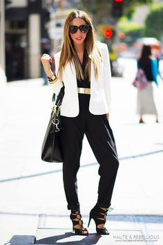 White Summer Blazer & Black Halter Jumpsuit