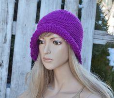 Crochet fuchsia hat Handmade Cloche Hat Cloches Knit by Degra2