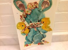 1950s Blue Bunny with Two Baby Chicks Pink Ears and Bow Flowers Vintage Nursery Decal