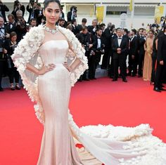Sonam Kapoor wearing shimmery gown by Ralph and Russo at Cannes 2016