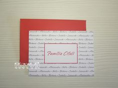 flavoli Papelaria Personalizada: Cartão duplo Nomes da família em duas cores Angelina Ballerina, Ale, Party Labels, Neon Party, Bookmarks, House Party, Personalized Stationery, Names, Ale Beer