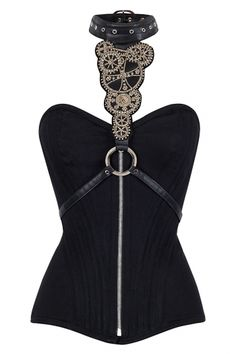 Hand Crafted Corset Accessory Steampunk Gears Harness Black