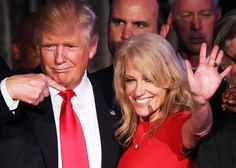 Republican president-elect Donald Trump along with his campaign manager Kellyanne Conway acknowledge the crowd during his election night event at the New York Hilton Midtown in the early morning hours of November 9, 2016 in New York City.