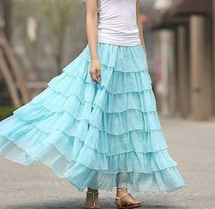 12f1b79921c Buy Light Blue Solid Chiffon Ruffle Layered Skirts online