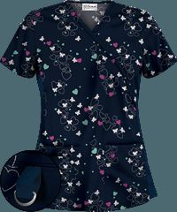 UA Butter-Soft STRETCH Let's Fall In Love Navy Scrub Top