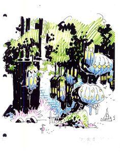 Environmental design from Disney's Atlantis: The Lost Empire (2001). Artwork by Mike Mignola.