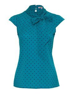 A gorgeous top to bring the attention to your upper body. The dots, the colour and the neck tie work wonders for a medium to small frame and a small bust A to B bra cup size. If your eyes are blue this top will make your eyes sparkle. Combine it with charcoal or black pants or skirt. To book your Style Session http://styleangel.com/products/style-session/